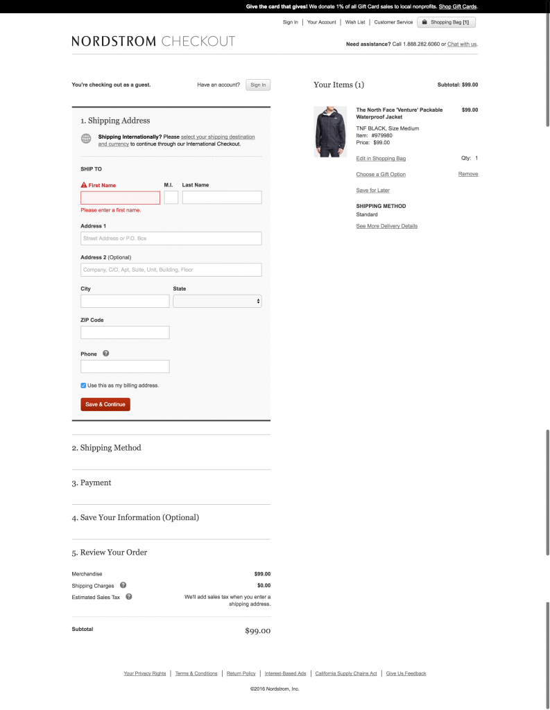 Nordstrom Checkout