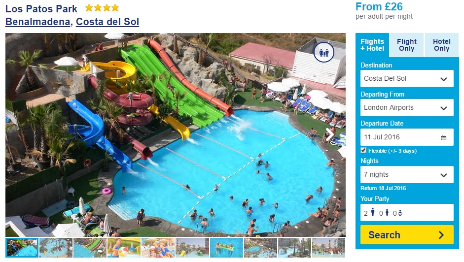 A resort listing for Los Patos Park on travel website On the Beach, with a large image showing a water park, with a carousel of smaller thumbnail images below it. To the right of the picture is a booking form.