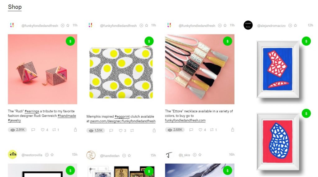 A screenshot of Ello's curated 'shop' category, showing a grid layout of different art prints, necklaces and framed artwork, all for sale with a green dollar icon in the top right corner.