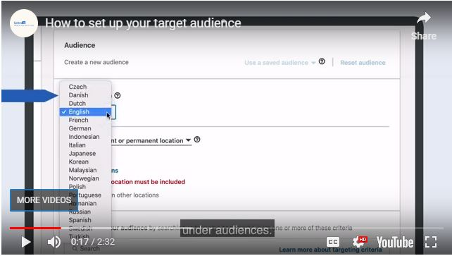 LinkedIn how to set up your target audience