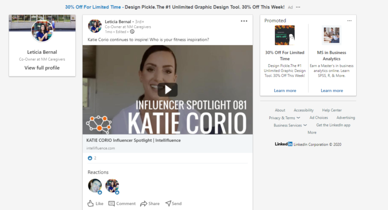LinkedIn influencers - Spotlight post